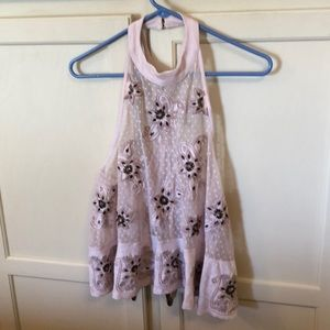 Free People Sheer Lace High Neck Tank Size Small